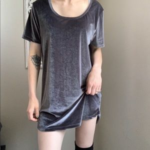 ASOS Gray velvet short sleeve  t-shirt mini dress